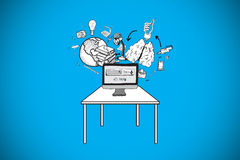 Composite image of computer with brainstorm doodles Royalty Free Stock Images