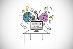 Composite image of computer with brainstorm doodles Royalty Free Stock Photo