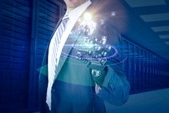 Composite image of computer graphic image of businessman with robotic hand 3d Stock Image