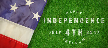Composite image of computer graphic image of happy 4th of july text. Computer graphic image of happy 4th of july text against closed up view of grass stock illustration