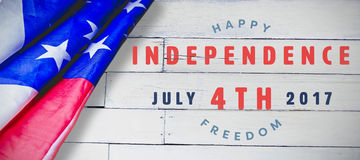 Composite image of computer graphic image of happy 4th of july text. Computer graphic image of happy 4th of july text against wood panelling vector illustration