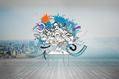 Composite image of computer icons and arrows on paint splashes Royalty Free Stock Image