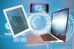 Composite image of computer icons illustration over blue background Stock Images