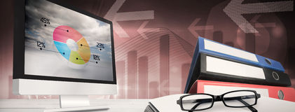 Composite image of computer screen. Computer screen against global business graphic in blue Stock Photo