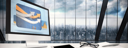 Composite image of computer screen. Computer screen against room with large window looking on city Stock Image