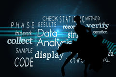 Composite image of computing buzzwords on black background Royalty Free Stock Photos