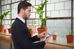 Composite image of concentrated businessman touching his tablet. Concentrated businessman touching his tablet against a line of green plants royalty free stock photography