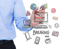 Composite image of concentrated businessman writing with marker Royalty Free Stock Photo