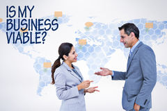 Composite image of confident business people smiling Stock Photo