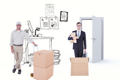 Composite image of confident delivery man with cardboard boxes royalty free stock image