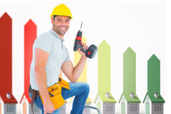 Composite image of confident handyman holding power drill while climbing ladder. Confident handyman holding power drill while climbing ladder against seven 3d Stock Photography