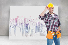 Composite image of confident handyman wearing hard hat Royalty Free Stock Image