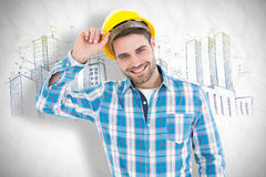 Composite image of confident male technicial wearing hard hat Stock Image