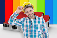 Composite image of confident male technicial wearing hard hat Royalty Free Stock Image