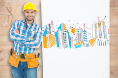 Composite image of confident repairman leaning on blank billboard Stock Photography