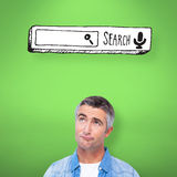 Composite image of confused man with grey hair thinking Royalty Free Stock Photos