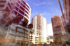 Composite image of constellation between stars. Constellation between stars against buildings in city royalty free stock photography