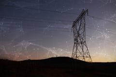 Composite image of constellation between stars. Constellation between stars against the evening electricity pylon silhouette stock photo