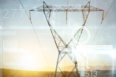 Composite image of constellation of stars. Constellation of stars against the evening electricity pylon silhouette royalty free stock photos