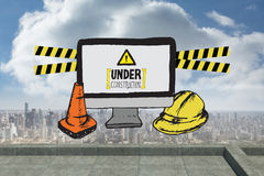 Composite image of construction doodles with computer screen Stock Photos