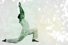 Composite image of content brunette in white doing tai chi Royalty Free Stock Photo