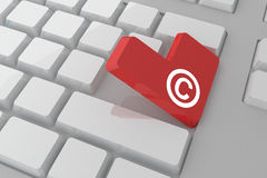 Composite image of copyright symbol on key Stock Photography