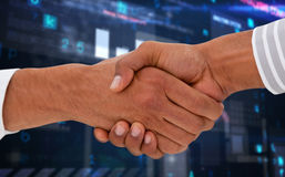 Composite image of corporate men doing handshake. Corporate men doing handshake against virus background Royalty Free Stock Images