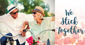 Composite image of couple on bike and valentines words. Composite image of couple on bike against backgrounds working Royalty Free Stock Images