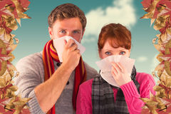 Composite image of couple blowing noses into tissues Royalty Free Stock Photography
