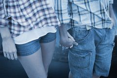 Composite image of couple in check shirts and denim holding hands Stock Images