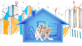 Composite image of couple drinking coffee while sitting. Couple drinking coffee while sitting against house shape with living room  sketch Stock Photo