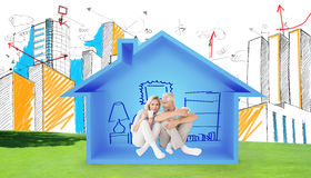 Composite image of couple drinking coffee while sitting. Couple drinking coffee while sitting against house shape with living room  sketch Stock Photography