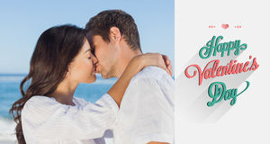 Composite image of couple embracing and kissing each other on the beach Royalty Free Stock Photography