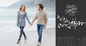Composite image of couple holding hands and walking at beach. Couple holding hands and walking at beach against cute valentines message Stock Photo