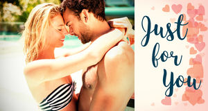 Composite image of couple in pool and valentines words. Composite image of couple in pool against backgrounds working Stock Photography