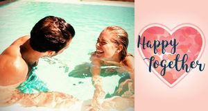 Composite image of couple in pool and valentines words. Composite image of couple in pool against backgrounds working Stock Image