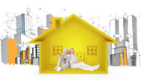 Composite image of couple relaxing while drinking coffee. Couple relaxing while drinking coffee against house shape with living room sketch Royalty Free Stock Photography