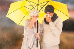 Composite image of couple sneezing in tissue while standing under umbrella. Couple sneezing in tissue while standing under umbrella against country scene Stock Image