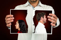 Composite image of couple standing back to back after arguing Stock Photo