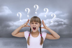 Composite image of crazy little girl Stock Photo
