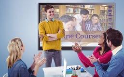 Composite image of creative businessman giving a presentation stock photos