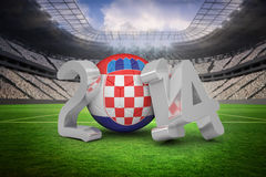 Composite image of croatia world cup 2014 message. Croatia world cup 2014 message against vast football stadium with fans in white Stock Images