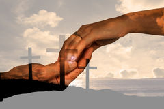 Composite image of cropped hand of couple holding hands Royalty Free Stock Photography