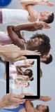 Composite image of cropped hand holding digital tablet Stock Photo