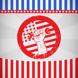 Composite image of cropped hand holding tool and american flag on red poster Stock Images