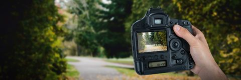 Composite image of cropped hand of photographer holding camera. Cropped hand of photographer holding camera  against autumn leaves on road Royalty Free Stock Images