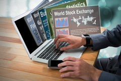 Composite image of cropped image of businessman using laptop 3d Royalty Free Stock Photography