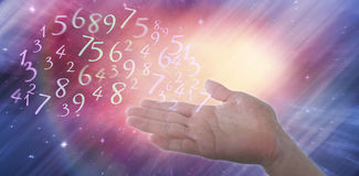 Composite image of cropped image of hand pretending to hold invisible object Stock Image