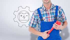 Composite image of cropped image of plumber holding monkey wrench Royalty Free Stock Photos