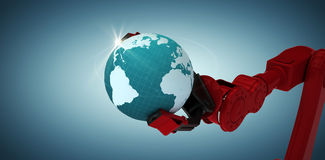 Composite image of cropped image of red robotic claw holding blue planet 3d Royalty Free Stock Images